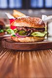 Świeży hamburgeru zbliżenie Zdjęcie Royalty Free