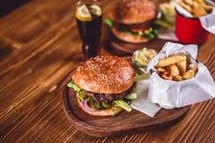 Świeży hamburgeru zbliżenie Zdjęcie Stock
