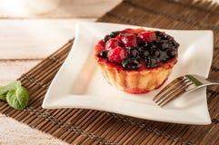 Świeży jagodowy tartlet lub tort wypełnialiśmy z custard, malinką, czarnej jagody redcurrant i jeżynowym wyśmienicie deserem, łat Obrazy Stock