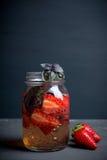 Świeży koktajl z truskawką i basilem w szkle Fotografia Stock