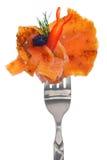 Świeży kolorowy skład z owoce morza na rozwidleniu Obrazy Royalty Free