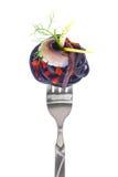 Świeży kolorowy składu owoce morza z makaronem na rozwidleniu Zdjęcie Stock