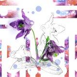 Świeży kwiat z ołówka konturem i akwarela na białym tle dla zaproszenie projekta Fotografia Stock