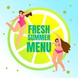 Świeży lato menu sztandar z Młodymi Seksownymi dziewczynami ilustracji