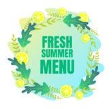 Świeży lato menu sztandar z typografią wśrodku ilustracji