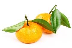 Świeży mandarine z plasterkiem i liściem odizolowywał białego tło Obraz Royalty Free