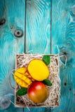 Świeży mangowy organicznie produkt w drewnianym pudełku niebieska tła Odgórny widok kosmos kopii Pionowo wizerunek fotografia royalty free