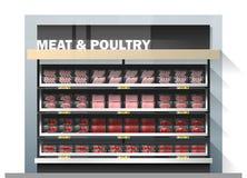 Świeży mięso dla sprzedaż pokazu na półce w supermarkecie Royalty Ilustracja