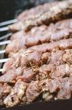 Świeży mięso na plenerowym grillu Obraz Royalty Free