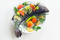 Świeży milokopi z warzywami i cytryną Fotografia Royalty Free