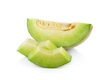 Świeży miodunka melon na białym tle Zdjęcia Royalty Free