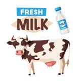 Świeży naturalny mleko Eco gospodarstwa rolnego logo z krową obcy kreskówki kota ucieczek ilustraci dachu wektor ilustracja wektor