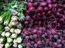 Świeży organicznie seler i beetroot przy rolnikami Wprowadzać na rynek Fotografia Royalty Free