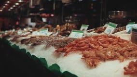 Świeży owoce morza na rynku zdjęcie wideo