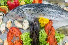 Świeży owoce morza wystawiający na zdruzgotanym lodzie obraz royalty free