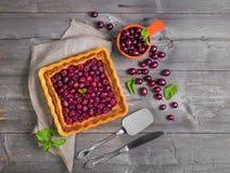 Świeży piec pasztetowy ciasto z czerwonymi jagodami agrest Fotografia Stock