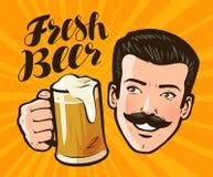 Świeży piwo, plakat Alkoholiczny napój, karczemny pojęcie Wystrzał sztuki komiczki retro styl obcy kreskówki kota ucieczek ilustr ilustracja wektor