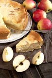 Świeży plasterek jabłczany kulebiak z całym kulebiakiem w tle Fotografia Royalty Free
