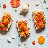 Świeży pomidor Bruschetta i basil obraz royalty free