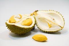 Świeży Rżnięty Durian na białym tle, zakończenie widok Durian, Durian braja, Durian D158 zdjęcie stock