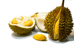 Świeży Rżnięty Durian na białym tle, zakończenie widok Durian, Durian braja, Durian D158 fotografia royalty free