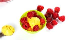 Świeży rapsberry i lody Zdjęcia Royalty Free