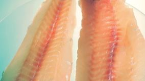 Świeży rybi polędwicowy na talerzu zdjęcie wideo