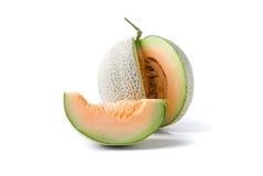 Świeży słodkiej pomarańcze melon odizolowywający na bielu Zdjęcia Stock
