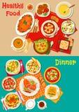Świeży sałatki, polewki i mięsa naczyń ikony ustalony projekt, ilustracja wektor