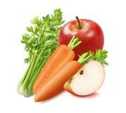 Świeży seler, marchewka i czerwieni jabłko odizolowywający na białym tle, obraz royalty free