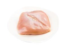 Świeży serce kształtował skinless kurczak piersi mięso na talerzu Zdjęcia Royalty Free