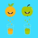 Świeży sok i szkła Apple, pomarańczowa owoc z twarzami Uśmiechnięty śliczny postać z kreskówki - set Naturalny produkt Juicing kr royalty ilustracja