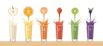 Świeży soku dolewanie od kolorowych owoc royalty ilustracja