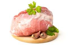 Świeży surowy mięso na drewnianej masarce Fotografia Royalty Free