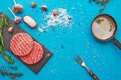 Świeży surowy wołowiny mięso z ziele i solą na turkusowym tle Obraz Royalty Free