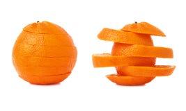 Świeży tangerine cięcie w plasterkach odizolowywających nad białym tłem Obrazy Stock