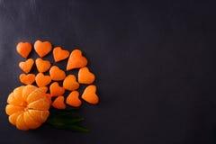 Świeży tangerine tło w formie Fi Miłości wifi Obrazy Stock