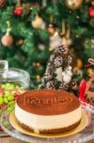 Świeży tiramisu z cacao proszkiem i inskrypcją na wierzchołku l obrazy stock