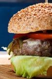 Świeży wołowina hamburgeru zakończenie Zdjęcia Royalty Free