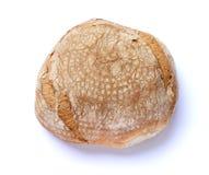 Świeży zaokrąglony piec chleb odizolowywający na białym tle Flatlay odgórny widok zdjęcia royalty free