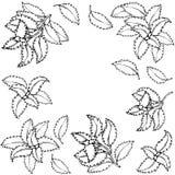 Świeży Zielony basilu tło, rama i Aromatyczny Kulinarny ziele Stku mięsa pikantność szczotkarski węgiel drzewny rysunek rysujący  ilustracja wektor