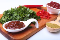 Świeży zielony cilantro, kolendrowi liście, pomidorowa pasta, chili pieprz i pikantność na drewnianej desce, Składniki dla mięsa Fotografia Stock