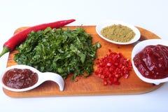 Świeży zielony cilantro, kolendrowi liście, pomidorowa pasta, chili pieprz i pikantność na drewnianej desce, Składniki dla mięsa Zdjęcia Stock