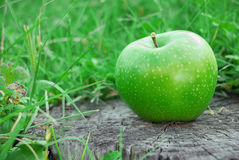Świeży zielony jabłko na stole outdoors Obrazy Stock