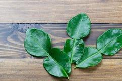 Świeży zielony kaffir wapna liść na drewnianym stołowym tle Zdjęcie Stock