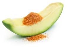 Świeży zielony mango z stołową solą mieszał z zmielonym chili Zdjęcia Royalty Free