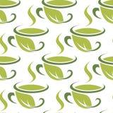 Świeży zielony ziołowej herbaty bezszwowy wzór Zdjęcia Stock