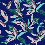 Świeżych lato kolorowych Tropikalnych liści graficznego projekta Bezszwowi wi Zdjęcie Stock