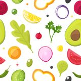 Świeżych warzyw bezszwowy wzór, zdrowy łasowanie, jarska sałatka zdjęcia royalty free