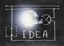 Świecąca lampa z patroszonym w kredzie na Blackboard obwodzie Zdjęcie Stock